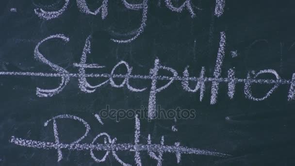 Přeškrtnutá psaní na tabuli, detail