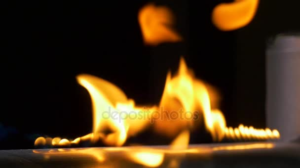 Pěkný flame. Potrubí s ohněm v laboratoři chemie zblízka. Plynárenské soustavy v laboratoři. Hudební nástroj s plameny. Trubice a oheň zblízka. Zpomalený pohyb