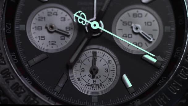 Luxury watch, chronograph closeup. Watch macro. Detail of a luxury watch. Chronograph detail macro