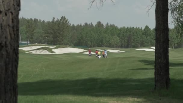 Rear view of young golfers walking on golf course. Golf field. Group people walking to the next hole on the golf court