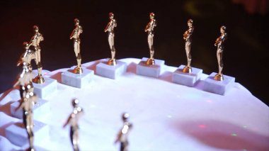 the Oscar statuettes. Statuettes of oscar stay on the table during the party. Bowl award before the presentation on the table. success and victory concept. Oscars themes party