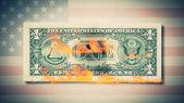 Aplikace Nero Burning jednodolarové bankovky animace. požární dolar. Sto dolarů bill pálení. Na fotografii dolarové bankovky. detail