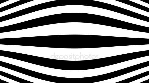 Abstraktní Cgi motion grafika a úhel animované pozadí s pohyblivými černé a bílé. Hypnotické rytmické hnutí geometrických tvarů černé a bílé