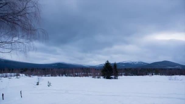 wunderschöne Winterlandschaft mit Schnee auf den Bäumen. Video. Winterliche Berglandschaft und blauer Himmel. Zeitraffer