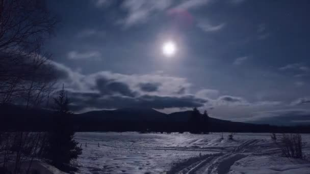 Winter landscape at night. Video. Light of the full moon. Winter landscape with the moon and the stars. Timelapse. Beautiful winter.