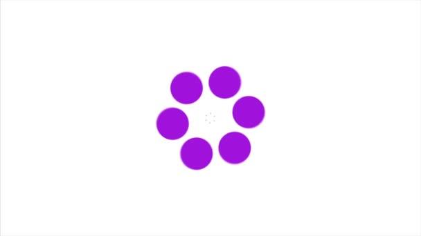 Abstraktní pozadí s fialovým rotující puntíky. Fialový tečka kruh