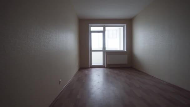 Lege heldere woonkamer zonder meubilair. Clip. Interieur lege lichte ...