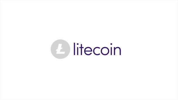 Litecoin Logo 3d animace. Litecoin Crypto měna Logo se pomalu otáčí přední průhledné pozadí. Crypto měna Litecoin pohled rozmazané animovaný kamery.