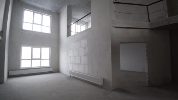 Finishing works at renovated apartment. Clip. Plastered walls ...