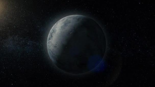 Planety ve vesmíru. Sluneční soustava a objekty v prostoru. Vědecké pozadí abstraktní - zářící planetu v prostoru, mlhovina a hvězd. Země a galaxie, na pozadí