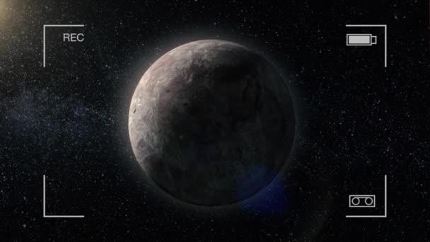 Plynového obra. Planeta ve vesmíru s slunce blesk, fotoaparát rec. Miranda, miliardy galaxií ve vesmíru. Extrasolární planety na pozadí hvězd