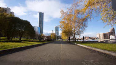 Hyperlapse - walk along the alley in the Park, first person view. First person view of walk in a park on a sunny autumn day hyper lapse. Video. Walking inside a forest of tall trees timelapse