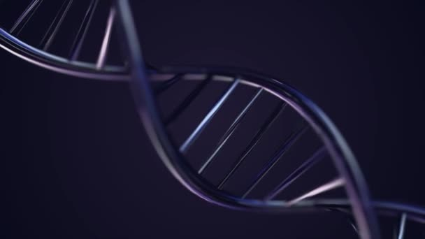 Animated DNA chain. Blue DNA Strand slow motion - 3D Animation