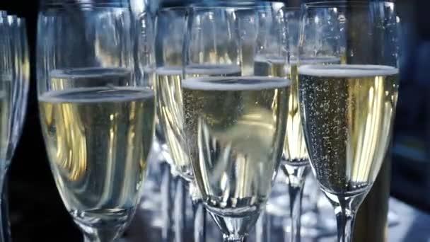 Mnoho sklenic na víno s cool lahodné šampaňské nebo bílého vína v baru. Alkohol na pozadí. Klip