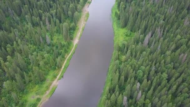 řeka v lese. Letecký pohled. Klip. Letecký pohled na lesní jezero během letního dne. Bílá oblaka jsou nad obzorem. Letecký pohled na zelené krajiny s řeka