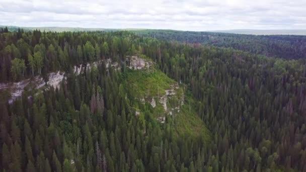 A légi felvétel a hegyek tűlevelű erdők borítják. Klip. Őszi erdő légifelvételek. Hegyek és erdők táj nyári utazási vad természet festői légifelvételek
