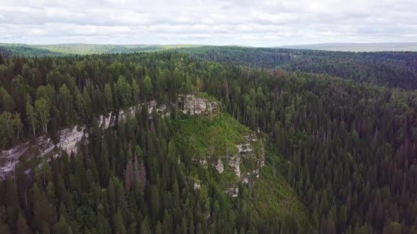 Letecký pohled na hory pokryté jehličnatými lesy. Klip. Podzimní les letecký pohled. Hory a lesní krajina letní cestování divoké přírody malebného letecký pohled
