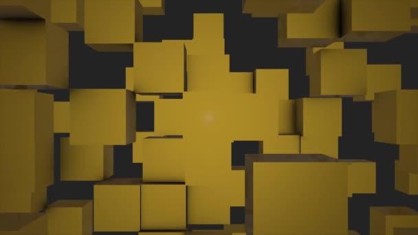Transformace kostky zeď na pozadí. 3D animace. Abstraktní kostky pozadí náhodným pohybem, 3d Loopable animace. geometrického čtverce různých velikostí pohybují po obrazovce, pozadí animace pohybu