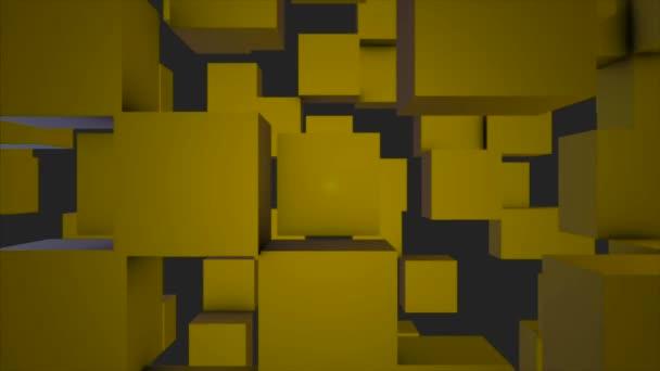 Abstraktní kostky pozadí náhodným pohybem, 3d Loopable animace. Abstraktní barvy pozadí políček. Bezproblémové opakování pozadí abstraktní kostky. Žluté kostky