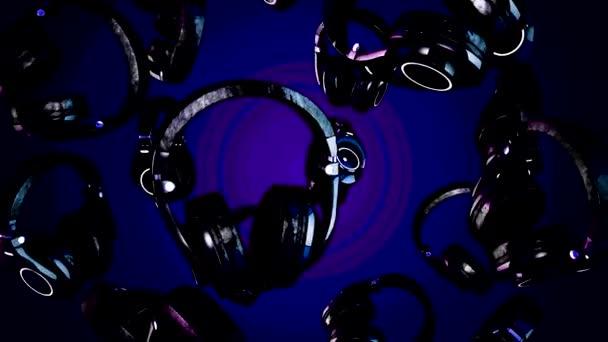 illustrazione 3D rotante cuffie. Cuffie grigio isolato su priorità bassa di colore. Cuffie che cade