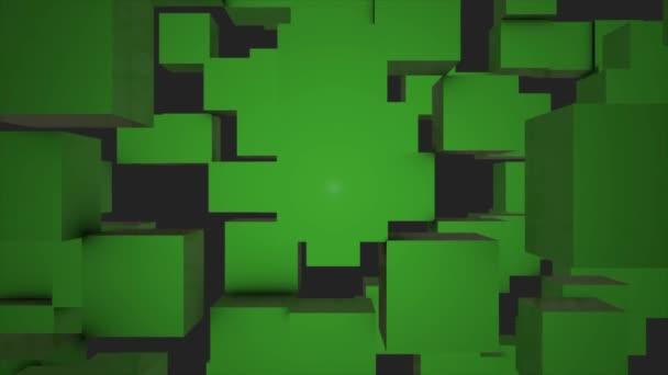 Abstraktní kostky pozadí náhodným pohybem, 3d Loopable animace. Abstraktní barvy pozadí políček. Bezproblémové opakování pozadí abstraktní kostky. Zelené kostky