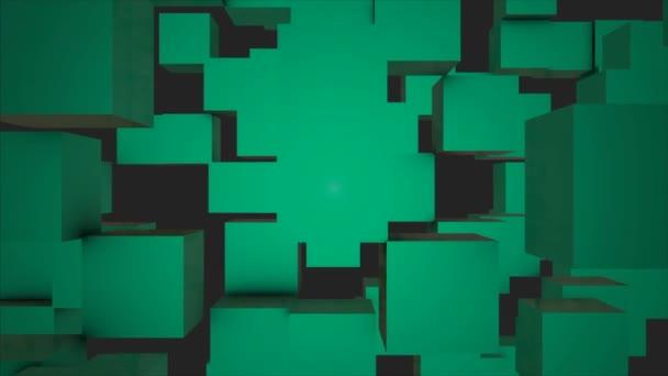 Abstraktní kostky pozadí náhodným pohybem, 3d Loopable animace. Abstraktní barvy pozadí políček. Bezproblémové opakování pozadí abstraktní kostky. Tyrkysové kostky