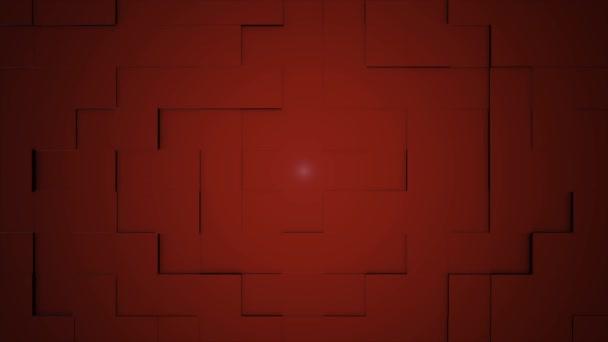 Barevné kostky stěhování bezešvé smyčka. Bezproblémové opakování pozadí abstraktní kostky. Geometrických bloků zeď pohyblivé pozadí. Červené kostky