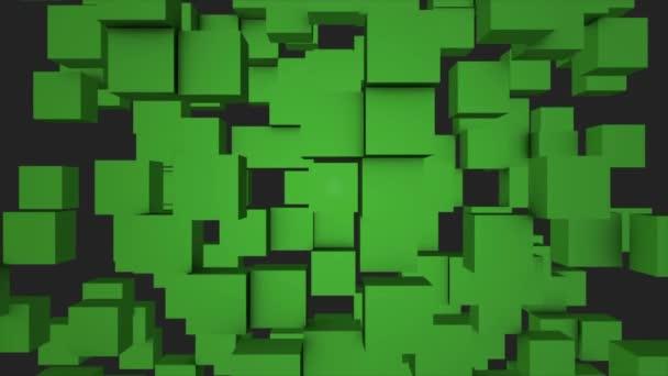 Barevné kostky stěhování bezešvé smyčka. Bezproblémové opakování pozadí abstraktní kostky. Geometrických bloků zeď pohyblivé pozadí. Zelené kostky