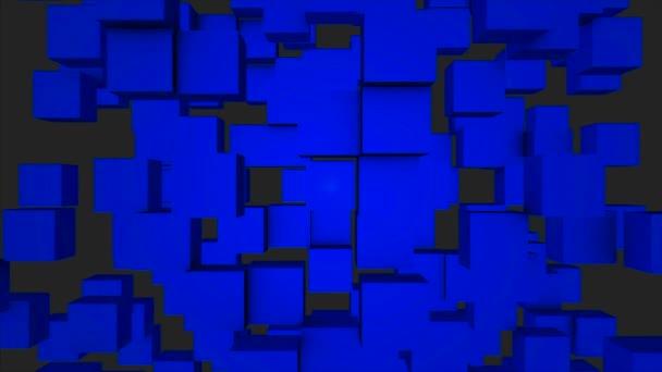 Barevné kostky stěhování bezešvé smyčka. Bezproblémové opakování pozadí abstraktní kostky. Geometrických bloků zeď pohyblivé pozadí. Modré kostky