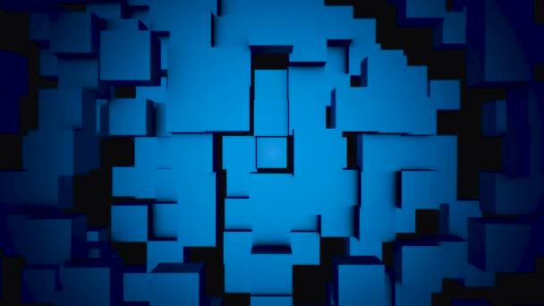 Abstraktní kostky přesunout, 3d animaci. Bezproblémové opakování pozadí abstraktní kostky. Kostky se skládají na pozadí pro kopírování prostor