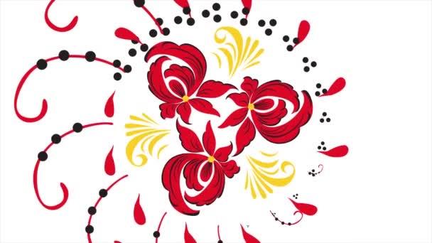 Chochlomské. Abstraktní pozadí transformace fraktálu. Loopable. Malba chochlomské Rusko jasně červené květy a plody na černé a zlaté pozadí. Abstraktní pozadí červené polygonů