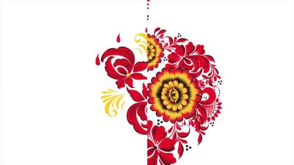 Khokhloma. Absztrakt fraktál átalakulás háttér. Loopable. Festés Khokhloma Oroszország fényes piros virágok és bogyók fekete és arany alapon. Absztrakt háttér piros sokszögek