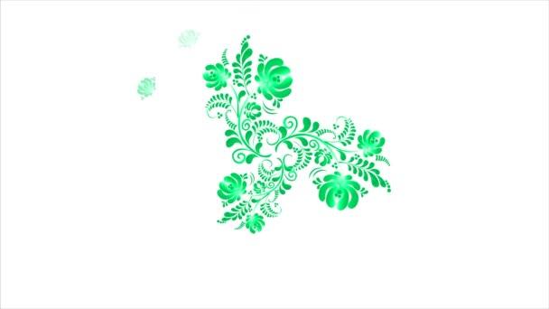 Animace z barevných květů na bílém pozadí. Bezproblémové smyčky