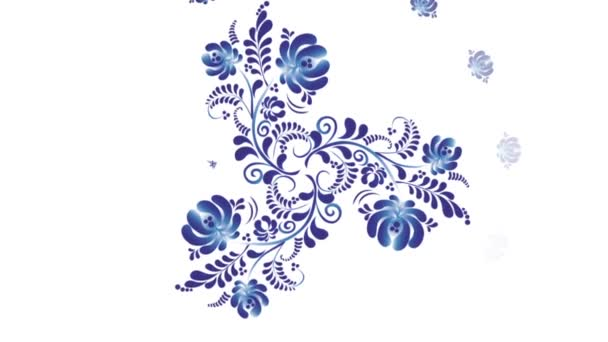 Animation of Colorful Flowers on White Background. Seamless Loops