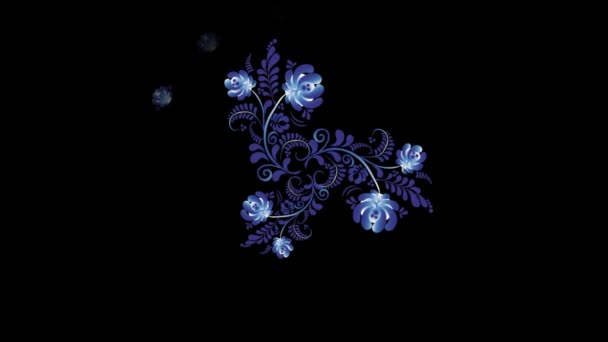 Animation of Colorful Flowers on Black Background. Seamless Loops. Ornament animation
