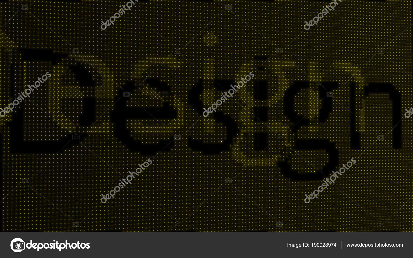 Retro digital font Design word text on old tv lcd glitch