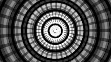 Background with concentric rings moving. Animation of radio wave, radar or sonar. Hypnotic graphic effect.Moving Inside Tunnel. Dark black abstract flowing ring circle motion design