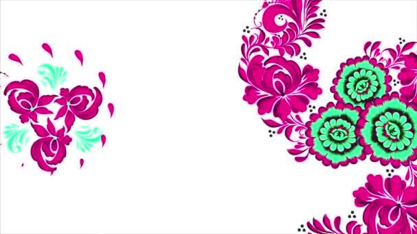 Chochlomské. Abstraktní pozadí transformace fraktálu. Loopable. Malování chochlomské Rusko jasně červené květy a plody na bílém pozadí. Abstraktní pozadí červené polygonů
