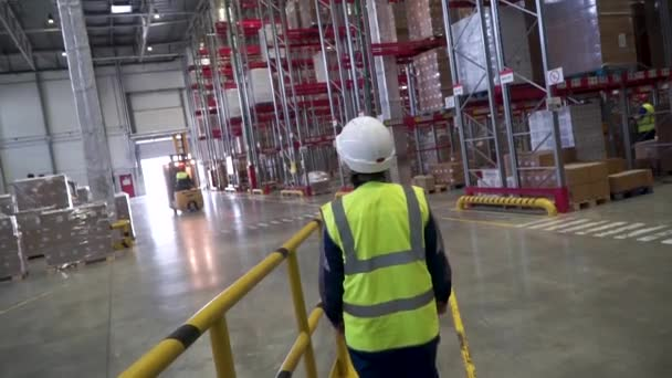 Shot of Female Industrial Worker in the Hard Hat Walking Through Heavy Industry Manufacturing Factory. Clip. Back view of female warehouse worker wearing protective goggles and helmet