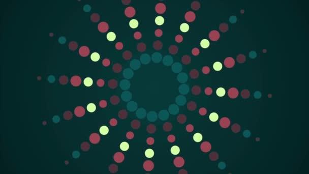 Abstraktní pozadí s spirála částic a světlice. Bezešvá smyčka. Zelené pozadí