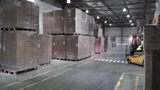 Zvedací vozík v továrně. Klip. Velkoobchod logistické, nakládání, dodávka a lidé koncept - muž s nakladačem přepravu nákladu na skladu