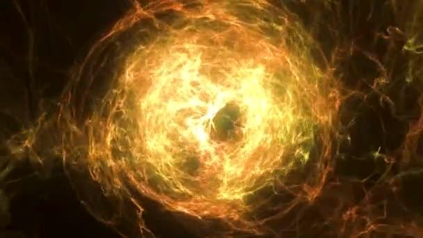 Sfera ardente astratto con luminoso sfondo vorticoso. Sfera dardore. Telaio rotondo con cerchi di luce effetto luce di brillare