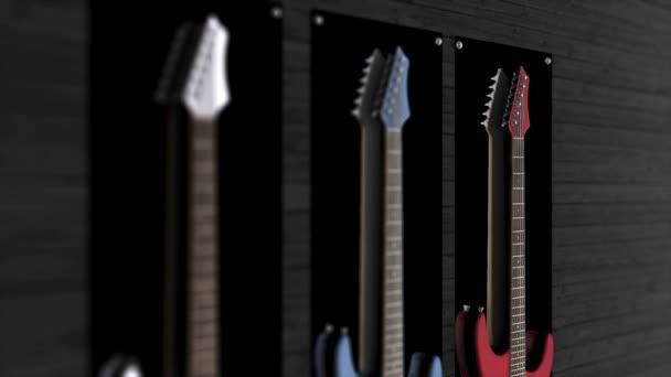 Drei e-Gitarren an eine Wand hängen. Animation der drei Gitarren an der Wand hängen