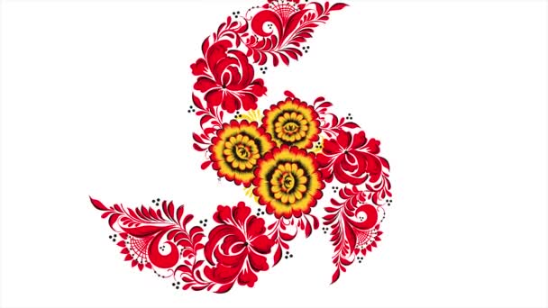 Malování chochlomské Rusko jasně červené květy a plody na bílém pozadí. Abstraktní pozadí transformace fraktálu. Chochlomské červené na bílém pozadí