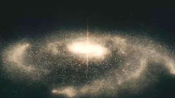 Galaxie ve vesmíru. Spirální galaxie, animace Mléčné dráhy. Průlet poli hvězd a mlhoviny v prostoru, odhalující otáčející spirální galaxie
