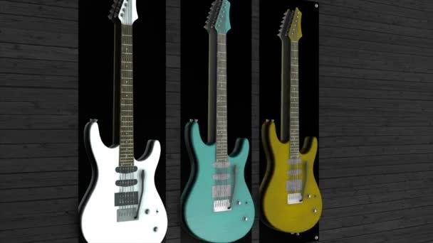 Animáció a három gitár lóg a falon. Három elektronikus gitár