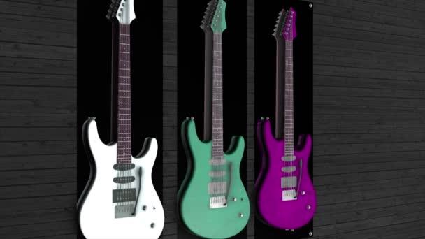Animace ze tří kytar, visí na zdi. Tři elektronické kytary