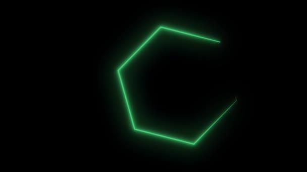 Neon Sechsecke abstrakt Bewegung Hintergrund. Nahtlose Schleife Design. Video-Animation. Grünen Sechsecken