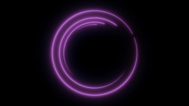 abstraktní neon kroužek loop fialová pohybu pozadí. Abstraktní pozadí neon. Světelný kroužení. Kryt žhavící spirály
