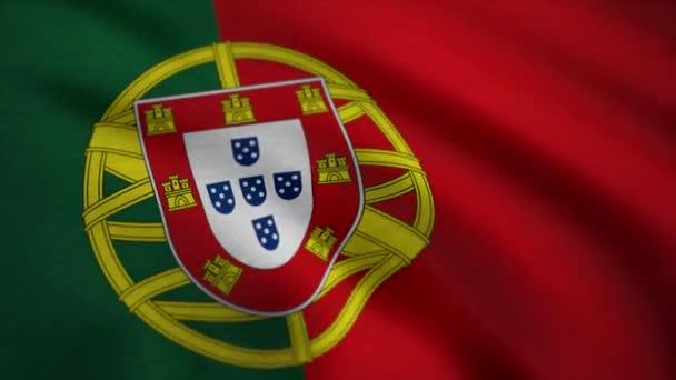 Egy szép szatén kivitelben, hurkolás jelző animáció, Portugália. Portugália jelző animáció stock footage. Portugália ország lobogója animáció integetett a szél pamut textúra és a közeli fel